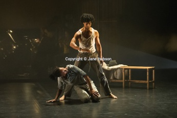 "London, UK. 31.05.2012. Rambert Dance Company presents a Season of New Choreography 2012 at the Queen Elizabeth Hall, Southbank, London. Picture shows: ""Face Up"", choreographed by Mbulelo Ndabeni. Dancers are: Miguel Altunaga (r) and Mbullelo Ndabeni (l)."
