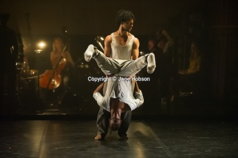 "London, UK. 31.05.2012. Rambert Dance Company presents a Season of New Choreography 2012 at the Queen Elizabeth Hall, Southbank, London. Picture shows: ""Face Up"", choreographed by Mbulelo Ndabeni. Dancers are: Miguel Altunaga (top) and Mbullelo Ndabeni (bottom)."